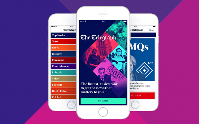 The most recent news app to become available, the Telegraph a colourful