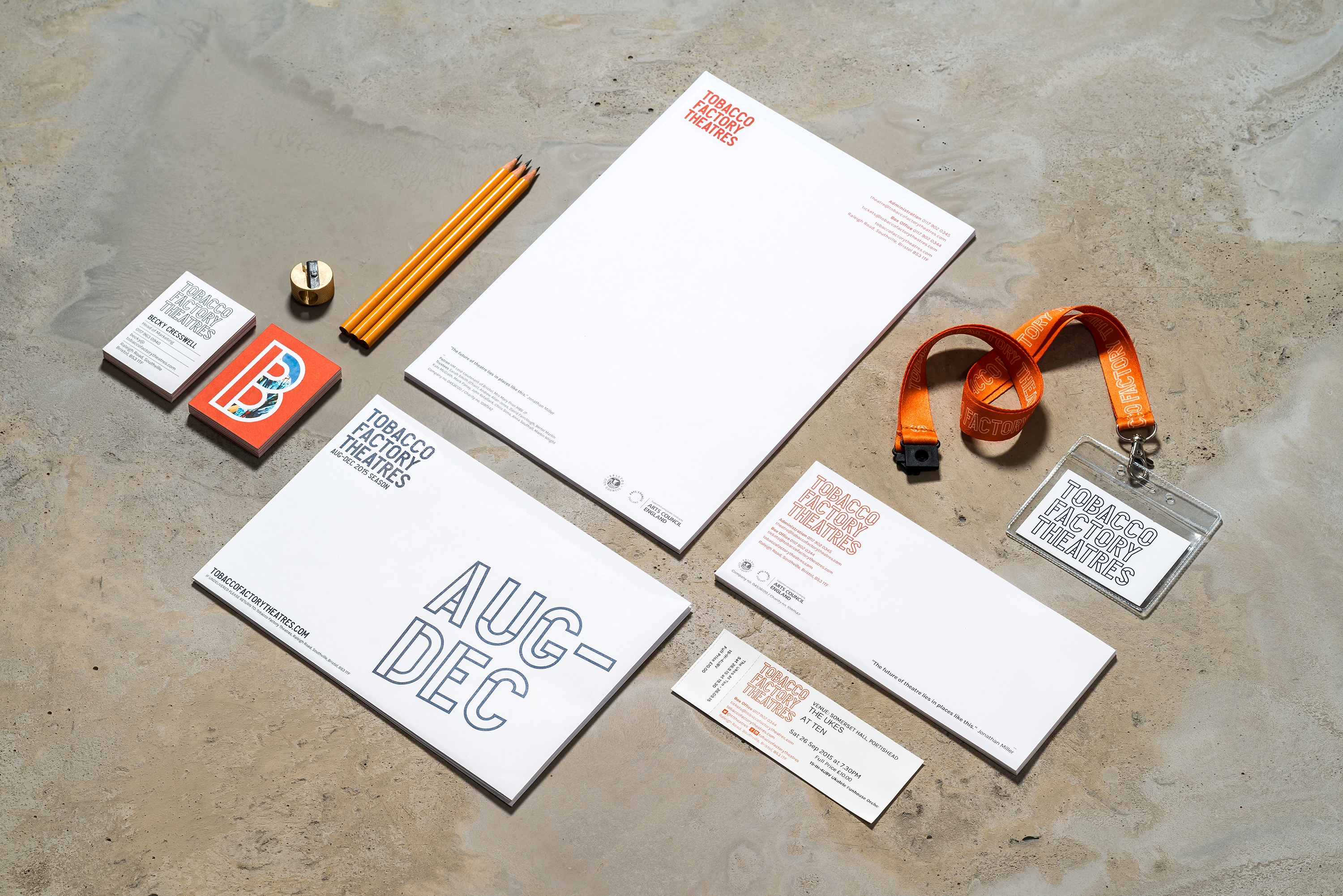 Tobacco Factory Theatres branded stationery examples by Fiasco Design