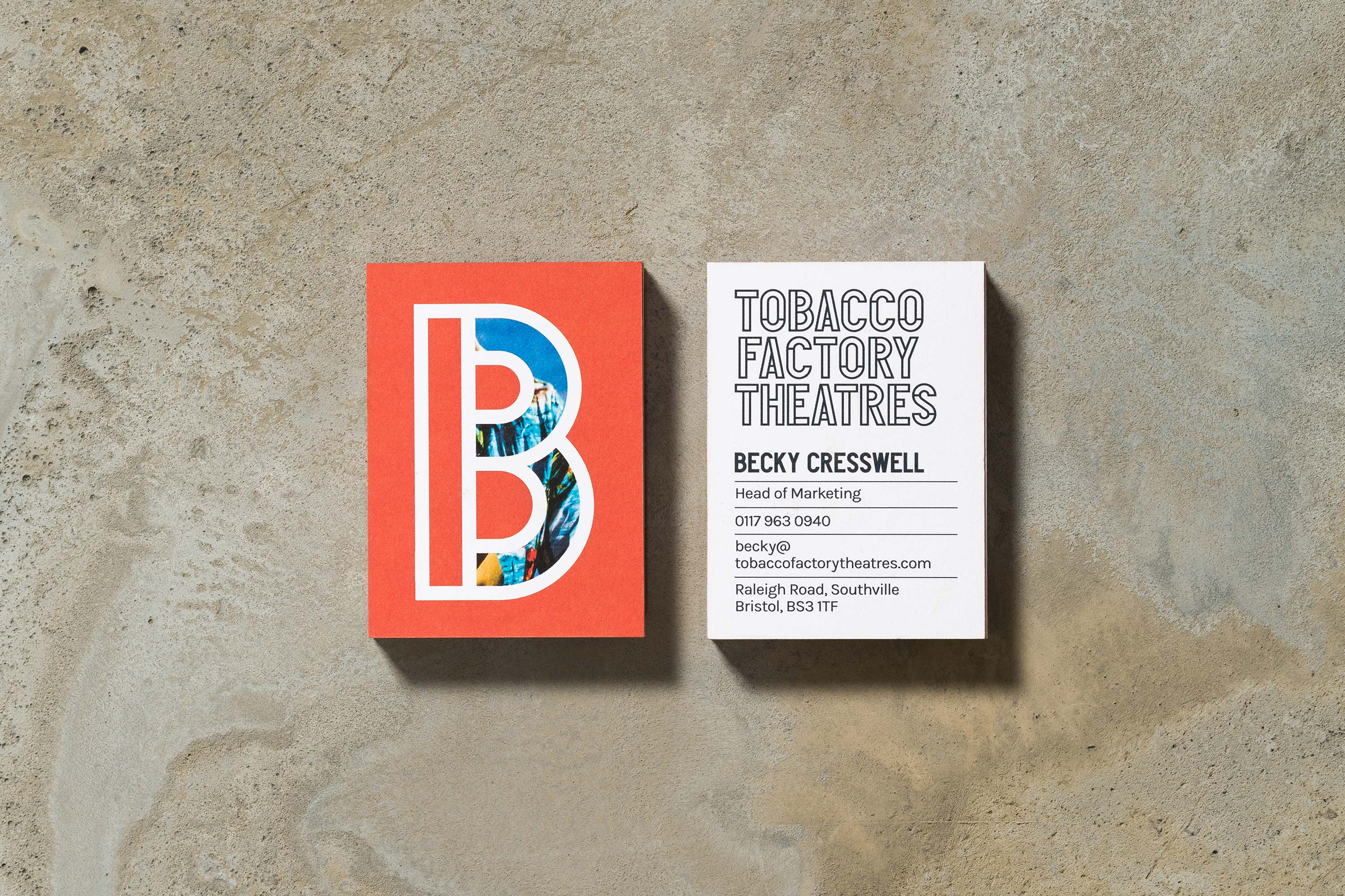 Tobacco Factory Theatres business card example by Fiasco Design