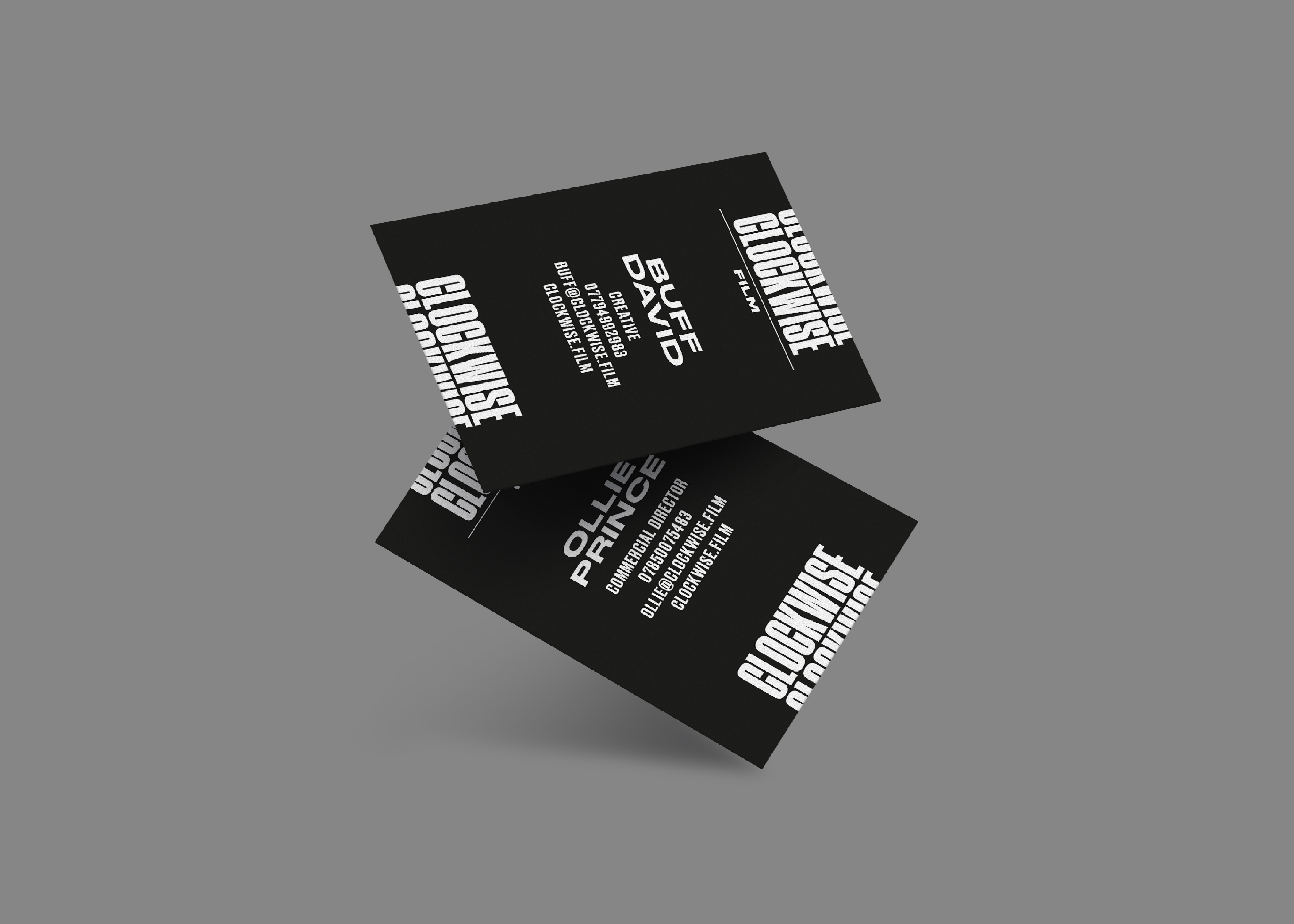 Business card artwork for Clockwise by Fiasco Design