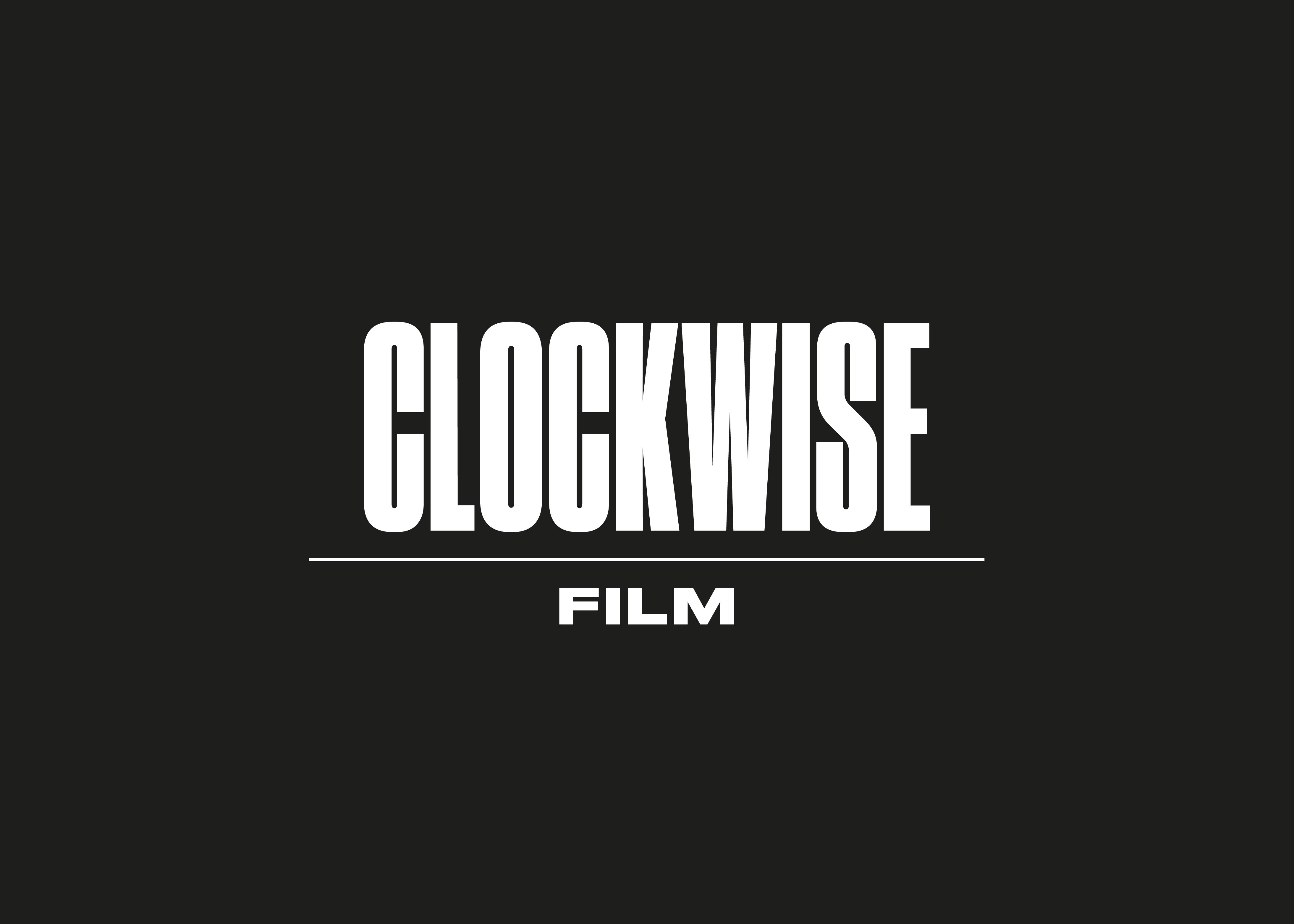 White Clockwise logo on a black background by Fiasco Design