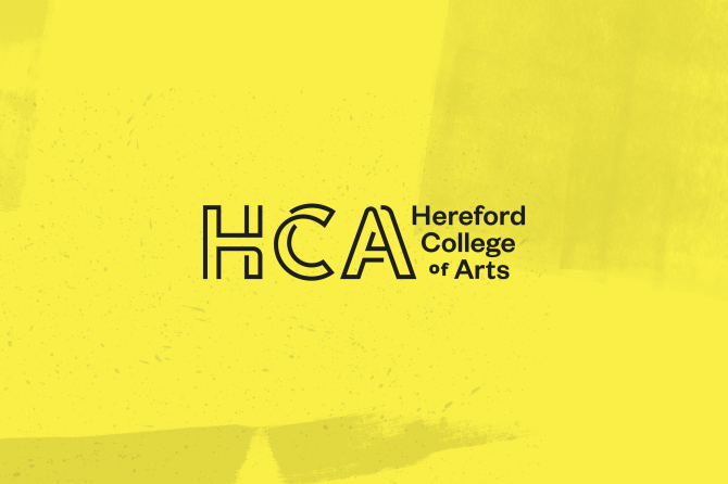 Black logo for Hereford College of Arts on yellow background