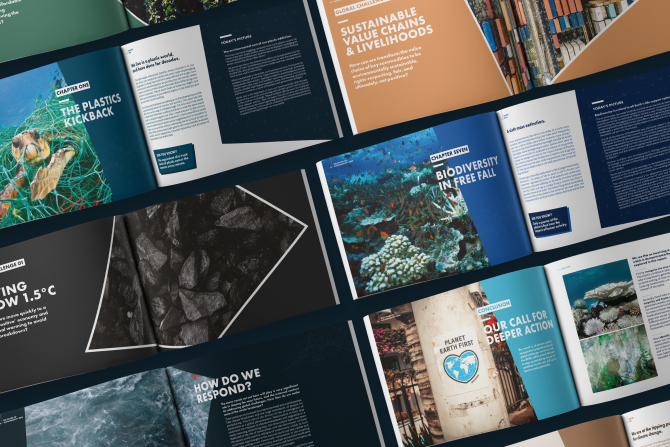 Forum For The Future annual report design brochure spreads