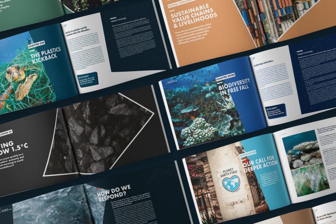 Forum For The Future annual report design brochure spreads