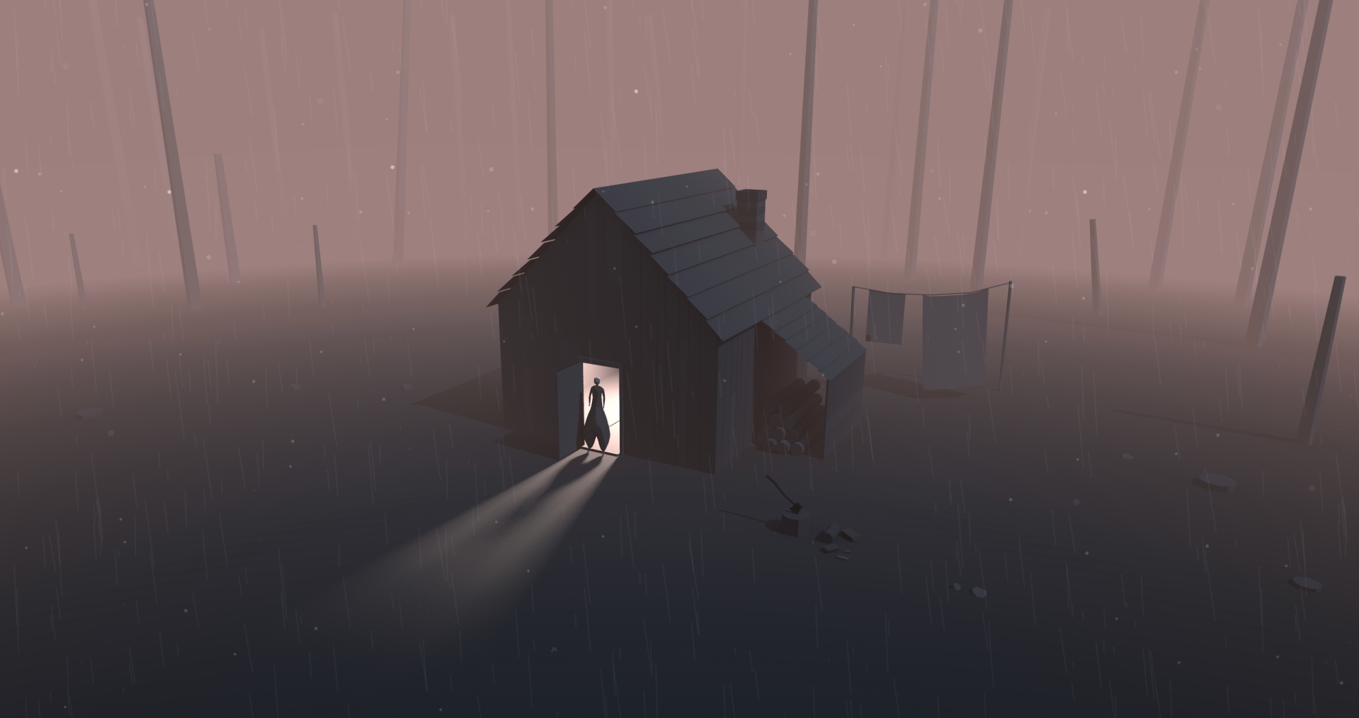Illustration of a small house in the forest with a person standing illuminated in the open doorway