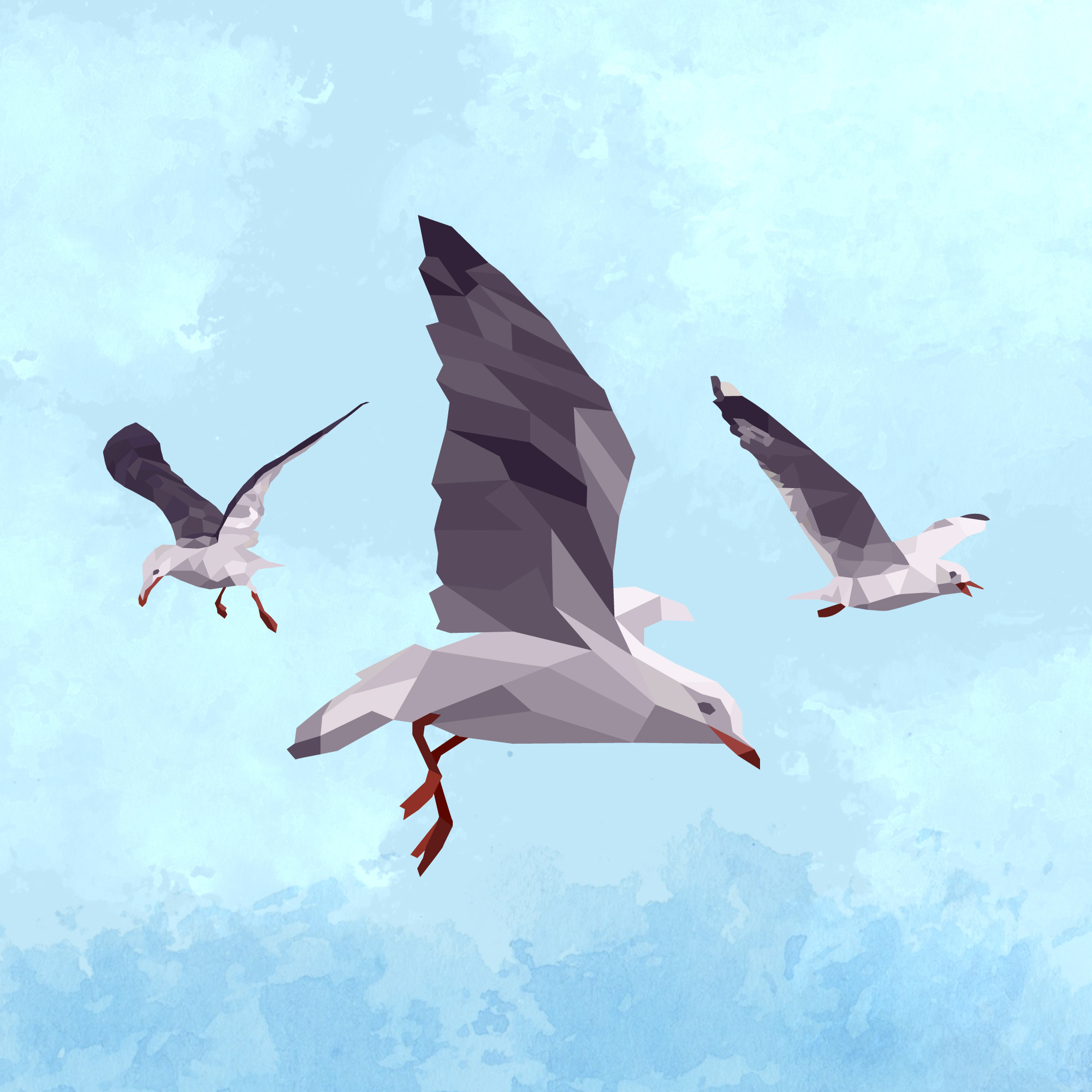 Illustrated image of seagulls to support branding for Changing Markets Foundation