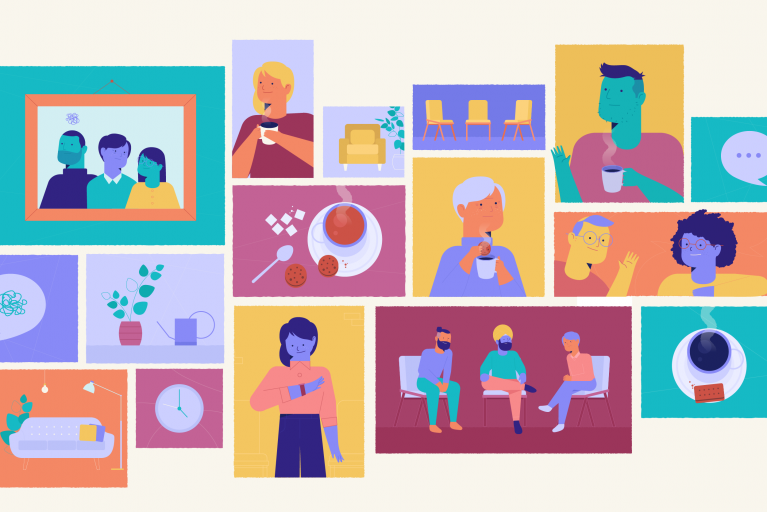 Panels from animation for mental health chairty, Changes Bristol