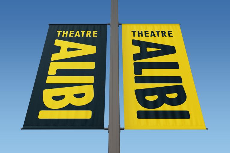 Theatre Alibi branding flags