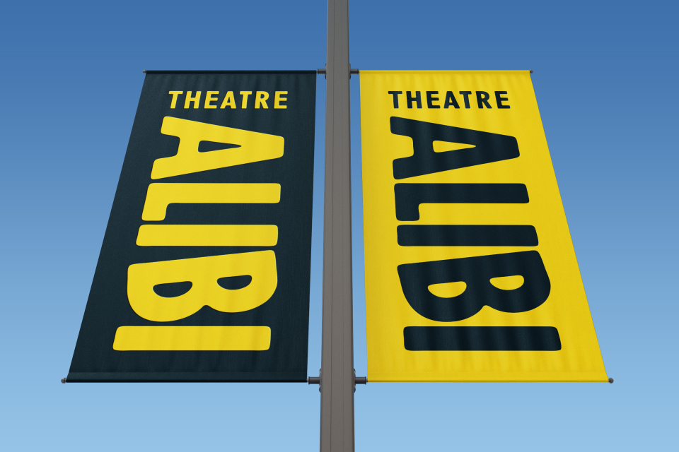 Theatre Alibi branding flags