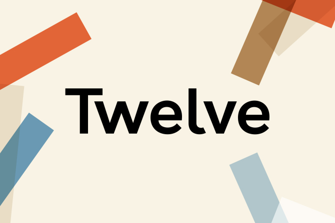 Logo for Twelve with colourful blocks behind