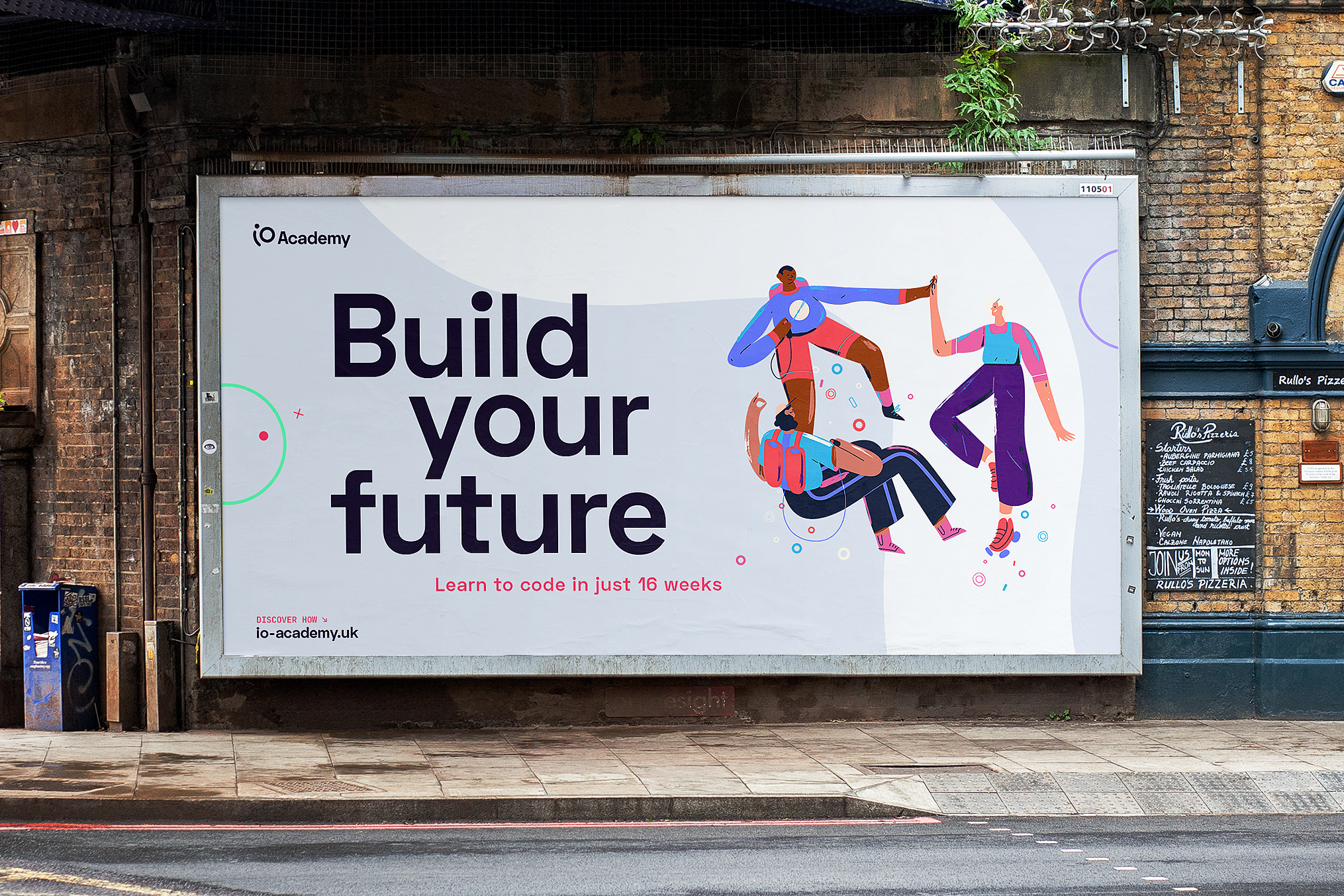 Billboard poster that says Build Your Future with illustration of colourful characters holding hands in a circle