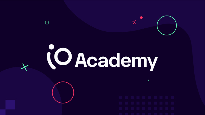 iO Academy logo with background elements