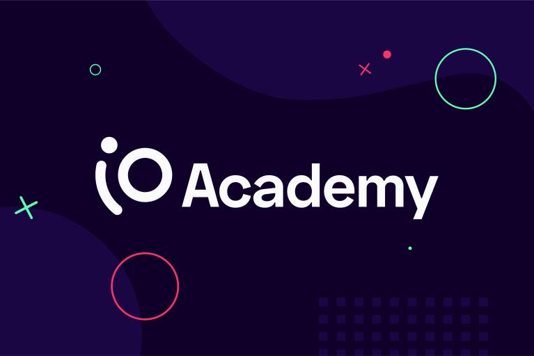 iO Academy logo with background elements