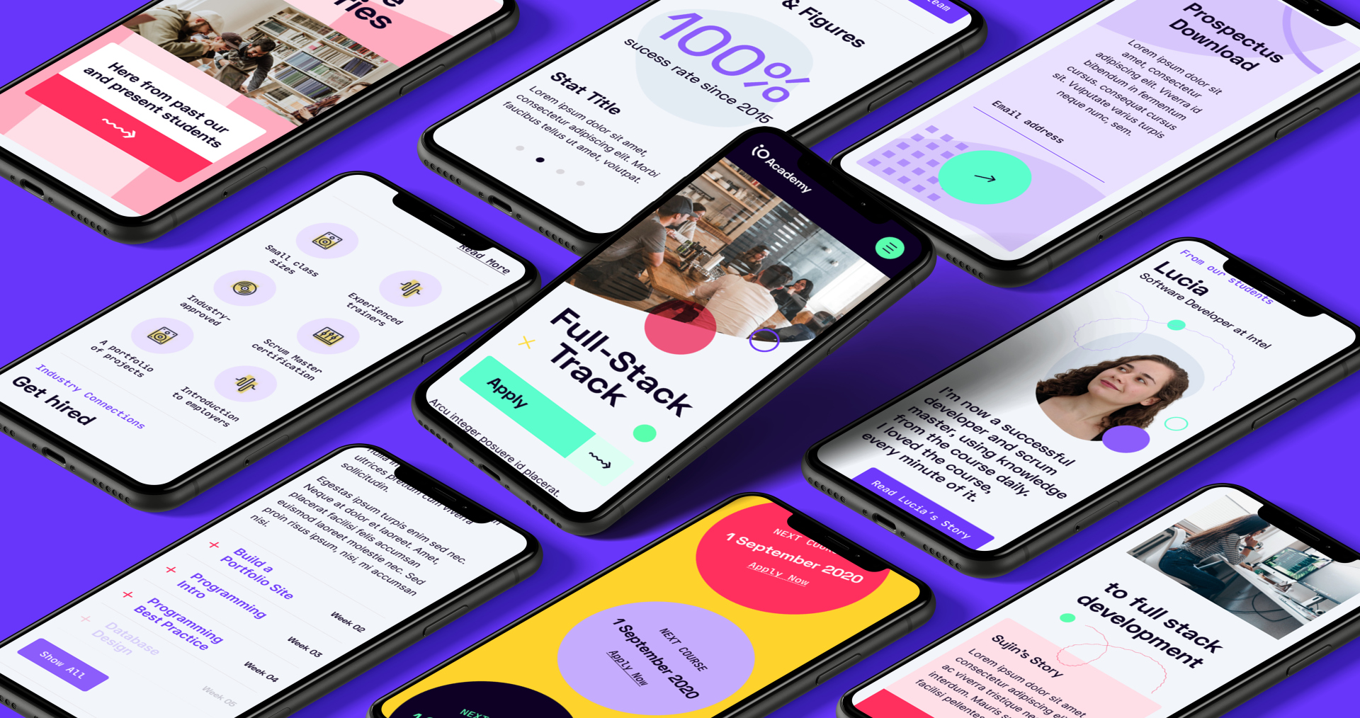 Coding Academy Branding by Fiasco Design – An overhead view of 9 mobile screens showcasing different pages from the iO website