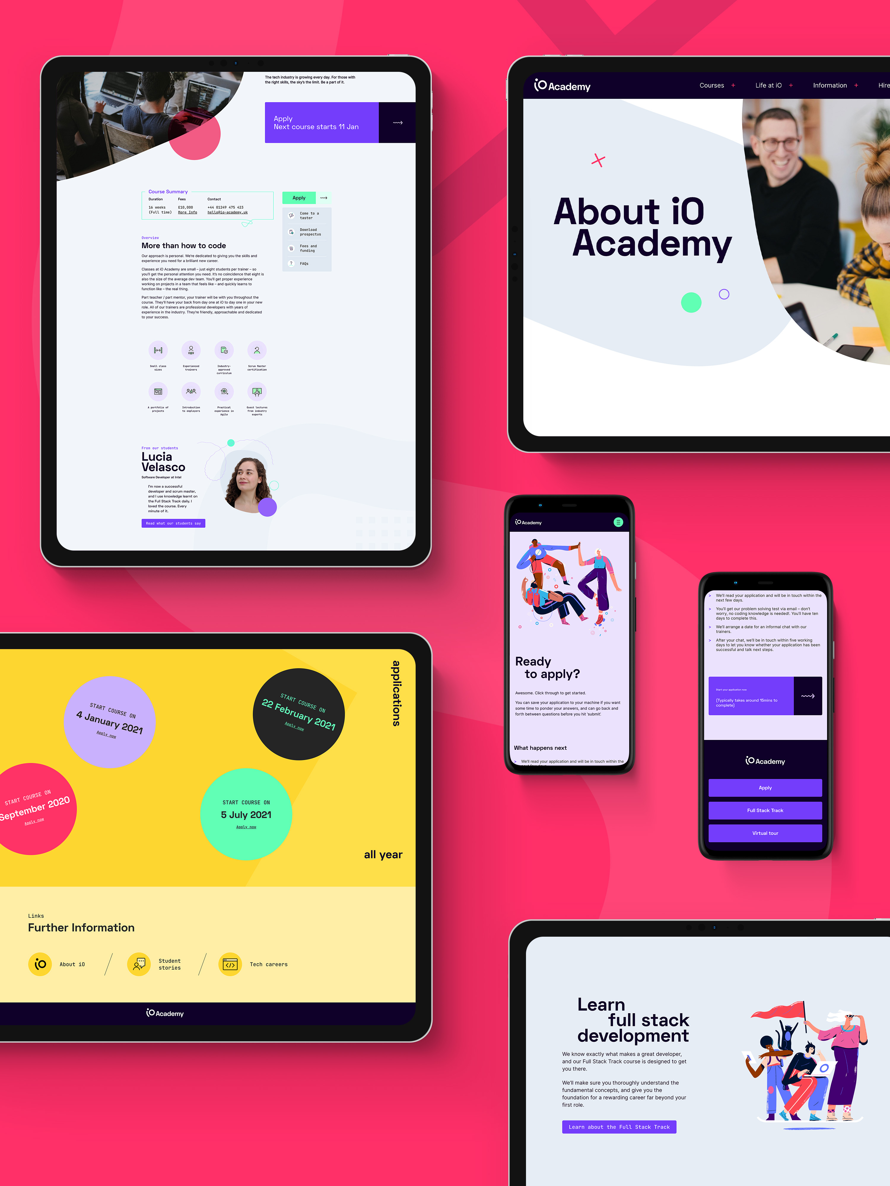 Coding Academy Branding by Fiasco Design – A front on view showcasing multiple device screens with the UI from the iO academy website