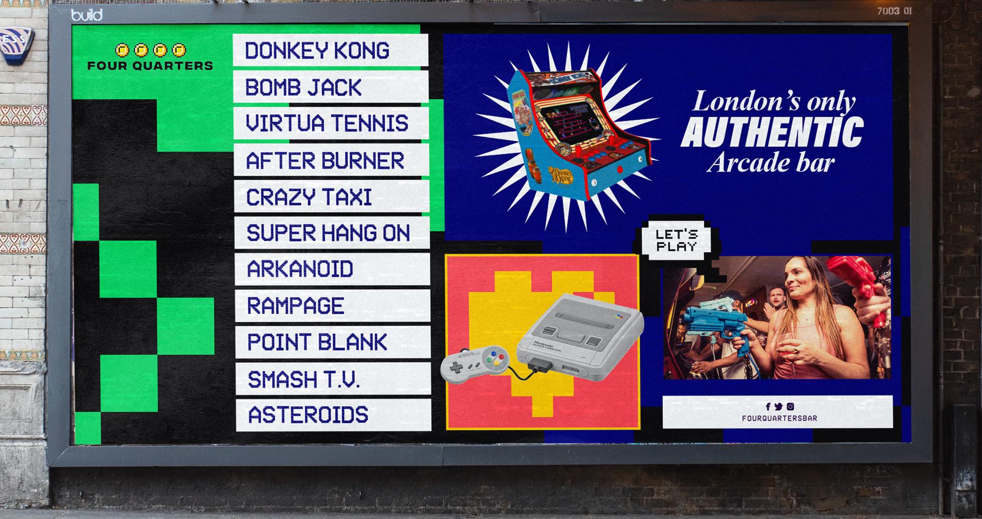 Four Quarters Billboard - arcade bar branding