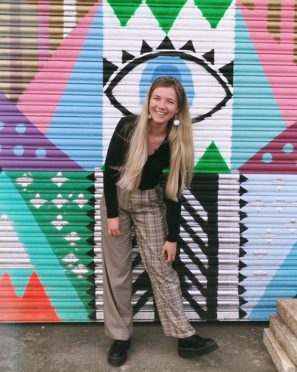 Claudia in her university town, Falmouth, before she started her design internship